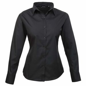 Premier Womens Poplin Long Sleeve Plain Work Shirt Black