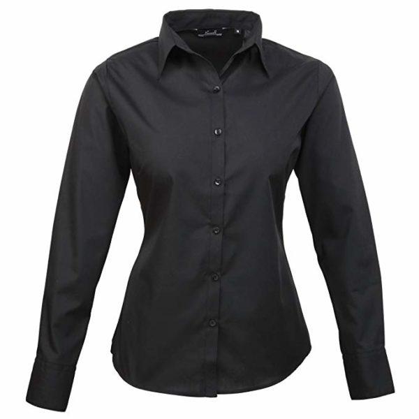 Premier Womens Poplin Long Sleeve Plain Work Shirt Black